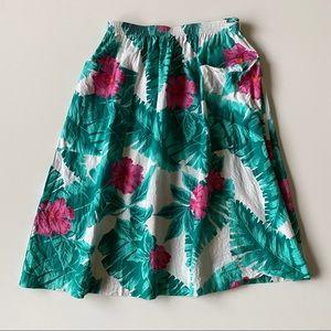 Vintage 80s Tropical Palm Leaf Floral Full Skirt